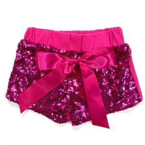 Sequin shorts hot pink baby girl photography